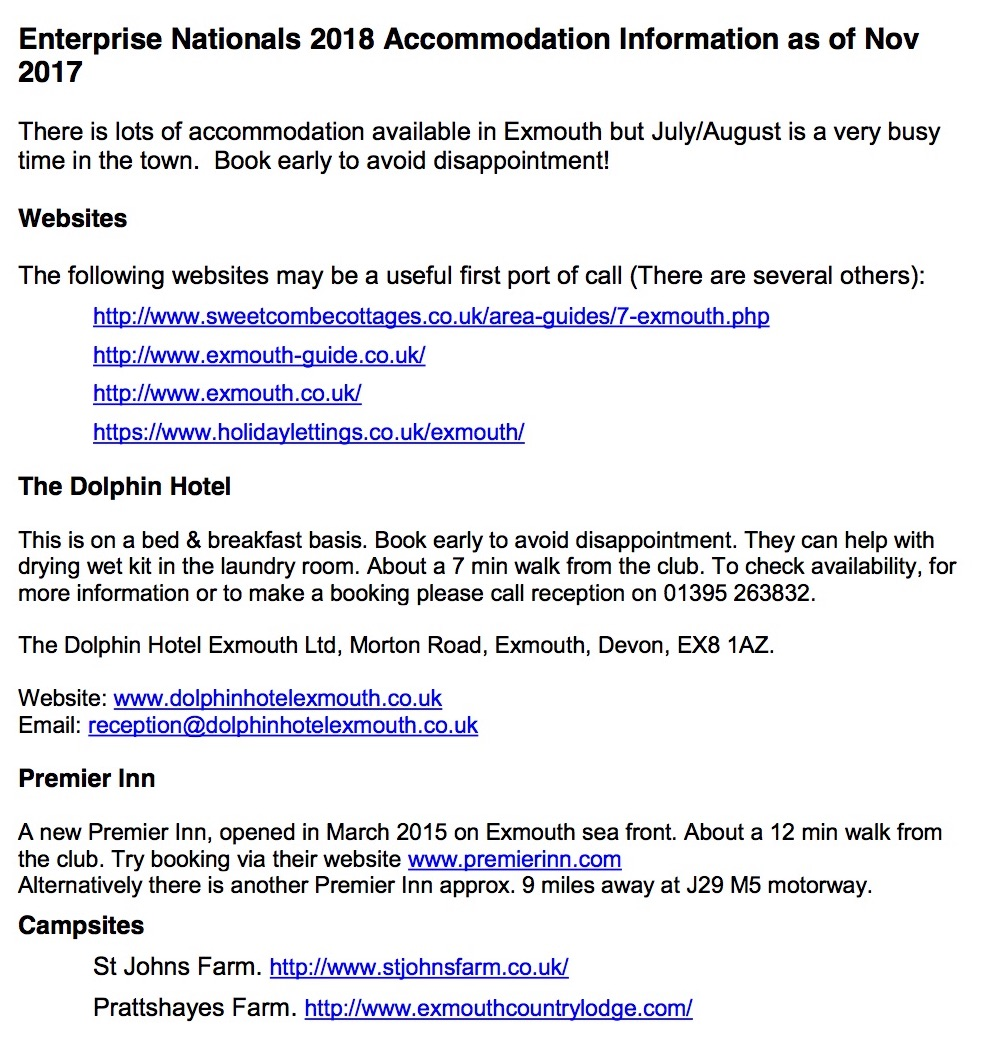 Enterprise Nationals Accommodation Info