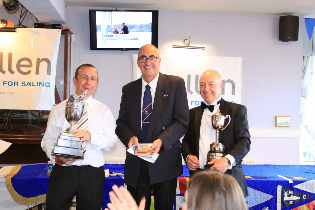 Overall winners Tim Sadler and Richard Sault being presented with their prizes by BYC Commodore David Faithfull. Photo: Gareth Fudge